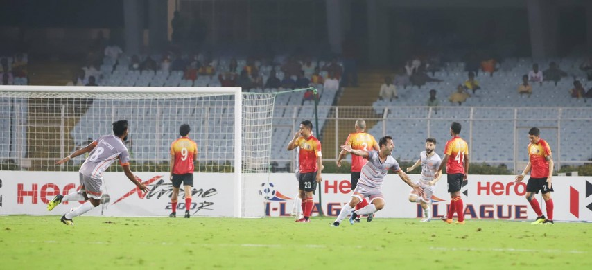Chennai City FC players celebrate after scoring their first goal against East Bengal FC